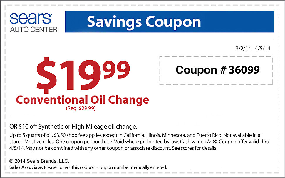 Sears Oil Change Coupon 2014 | eTire Deals | Local Tire ...